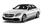 2018 Mercedes Benz C-Class AMG-C63-S 4 Door Sedan Angular Front stock photos of front three quarter view