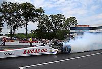 Jun 11, 2016; Englishtown, NJ, USA; NHRA top fuel driver Richie Crampton during qualifying for the Summernationals at Old Bridge Township Raceway Park. Mandatory Credit: Mark J. Rebilas-USA TODAY Sports