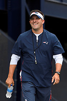 August 1, 2018: New England Patriots offensive coordinator / quarterbacks coach Josh McDaniels heads to practice at the New England Patriots training camp held on the practice fields at Gillette Stadium, in Foxborough, Massachusetts. Eric Canha/CSM