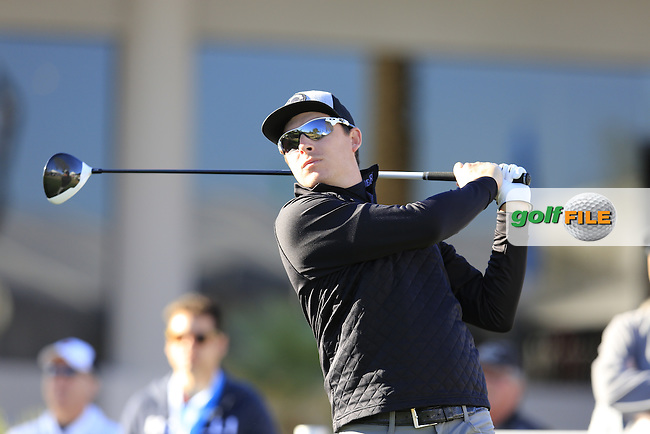 Joel Dahmen (USA) tees off the 1st tee during Saturday's Round 3 of the 2017 CareerBuilder Challenge held at PGA West, La Quinta, Palm Springs, California, USA.<br /> 21st January 2017.<br /> Picture: Eoin Clarke | Golffile<br /> <br /> <br /> All photos usage must carry mandatory copyright credit (&copy; Golffile | Eoin Clarke)
