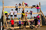 Difficult<br /> ----------<br /> Competitors had to get over this wooden wall about 150 mtrs before the finish of the Ballyheigue Sandstorm 5km challenge last Saturday on the beach