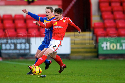 21.12.2013 Crewe, England. Crewe Alexandra defender Matt Tootle during the League One game between Crewe Alexandra and Shrewsbury Town from the Alexandra Stadium.