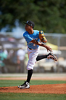 Javier Lopez during the WWBA World Championship at the Roger Dean Complex on October 19, 2018 in Jupiter, Florida.  Javier Lopez is a right handed pitcher from Trujillo Alto, Puerto Rico who attends New Generation School.  (Mike Janes/Four Seam Images)