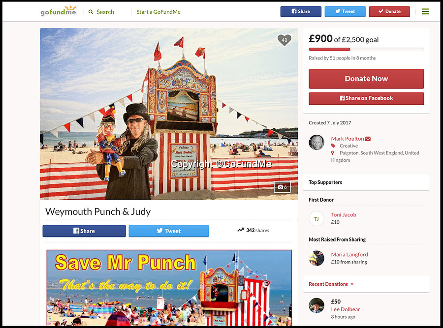 BNPS.co.uk (01202 558833)Pic: GoFundMe/BNPS<br /> <br /> Mark Poulton's 'go fund me' page trying to raise funds to keep his show running.<br /> <br /> One of Britain's longest-running Punch and Judy shows is in jeopardy because the man behind it says he cannot afford to keep it going.<br /> <br /> Mark Poulton, who runs the show in Weymouth, Dorset, said a shorter holiday season has hit his takings but his expenses and overheads remain the same.<br /> <br /> He blamed strict rules preventing parents from taking their children out of school during term-time, reducing his usual 17-week season to just seven weeks, and said school groups have also stopped coming in July due to budget cuts.<br /> <br /> The seaside town has had a Punch and Judy show since 1880, but Mr Poulton says he relies on donations and with audiences dwindling he will not be able to continue the seaside tradition past this summer season without outside support.