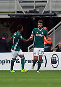 30th September 2017, Riverside Stadium, Middlesbrough, England; EFL Championship football, Middlesbrough versus Brentford; Yoann Barbet of Brentford is congratulated by Rico Henry of Brentford after putting Brentford 0-1 ahead