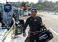 Nov. 9, 2012; Pomona, CA, USA: NHRA top fuel dragster driver Tony Schumacher during qualifying for the Auto Club Finals at at Auto Club Raceway at Pomona. Mandatory Credit: Mark J. Rebilas-