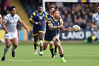 Francois Hougaard of Worcester Warriors passes the ball. Aviva Premiership match, between Worcester Warriors and Bath Rugby on April 15, 2017 at Sixways Stadium in Worcester, England. Photo by: Patrick Khachfe / Onside Images