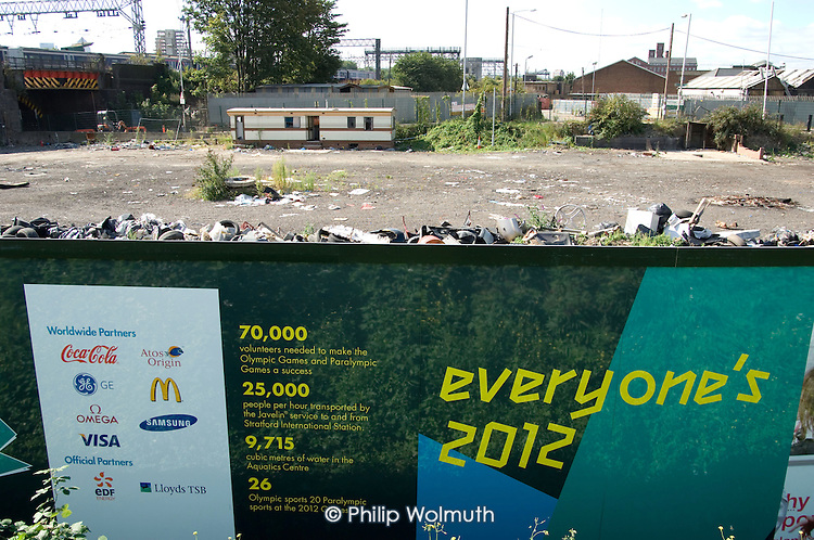 Former scrapyard on Marshgate Road, Stratford, the site of the London 2012 Olympic Games.