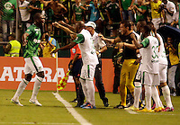 PALMIRA -COLOMBIA-01-03-2015. German Mera (Izq) jugador del Deportivo Cali celebra un gol anotado a Millonarios durante partido por la fecha 7 de la Liga Aguila I 2015 jugado en el estadio Palmaseca de la ciudad de Palmira./  German Mera (L) player of Deportivo Cali celebrates a goal scored to Millonarios during match for the 7th date of Aguila League I 2015 played at Palmaseca stadium in Palmira city Photo: VizzorImage/ Juan C. Quintero /STR