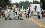 Smith House racing against Diamond Mills in a heat of The Great Saugerties Bed Race on Partition Street in Saugerties, NY on Saturday, August 6, 2011. Photo by Jim Peppler. Copyright Jim Peppler/2011.