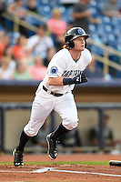 Lake County Captains outfielder Clint Frazier (20) runs to first during a game against the Fort Wayne TinCaps on August 21, 2014 at Classic Park in Eastlake, Ohio.  Lake County defeated Fort Wayne 7-8.  (Mike Janes/Four Seam Images)
