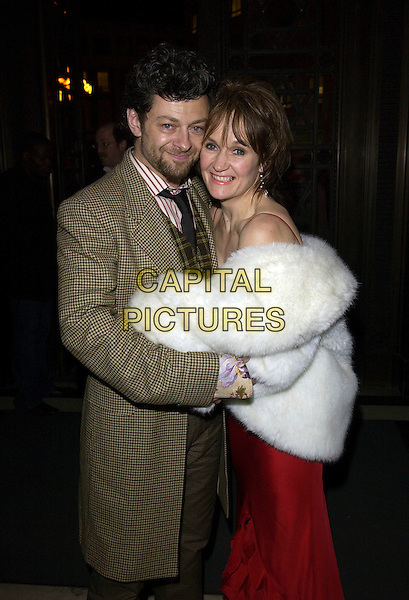 "ANDY SERKIS & LORRAINE SERKIS.""King Kong"" UK film premiere aftershow party at Freemason's Hall, London, WC2, UK..December 8th, 2005.Ref: FIN.half length white fur coat brown jacket hug embrace.www.capitalpictures.com.sales@capitalpictures.com.© Capital Pictures."