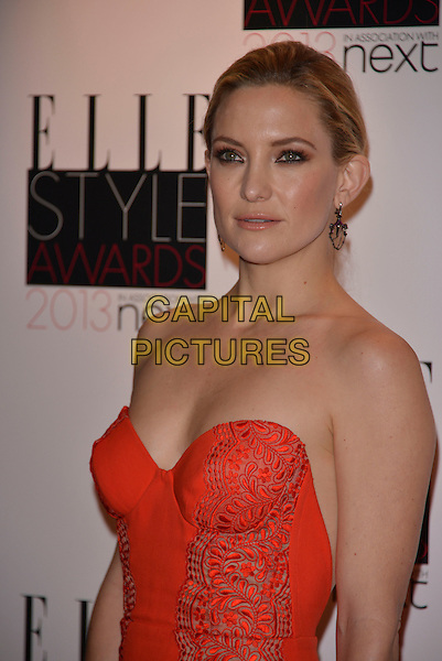Kate Hudson.The Elle Style Awards 2013 arrivals, The Savoy Hotel, London, England..11th February 2013.half length dress lace red dress embroidered strapless .CAP/PL.©Phil Loftus/Capital Pictures