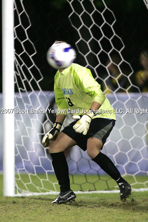 9 November 2007: North Carolina goalkeeper Ashlyn Harris guesses the wrong way during the penalty kick shootout, and the ball whistles past. The University of North Carolina tied the University of Virginia 1-1 at the Disney Wide World of Sports complex in Orlando, FL in an Atlantic Coast Conference tournament semifinal match.  UNC advanced to the finals on penalty kicks, 4-2.