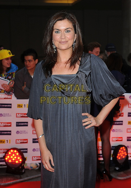 AMANDA LAMB.The Pride of Britain Awards, Grosvenor House, Hotel, Park lane, London, England. .October 5th, 2009.half length grey gray dress hand on hip.CAP/BEL.©Tom Belcher/Capital Pictures.