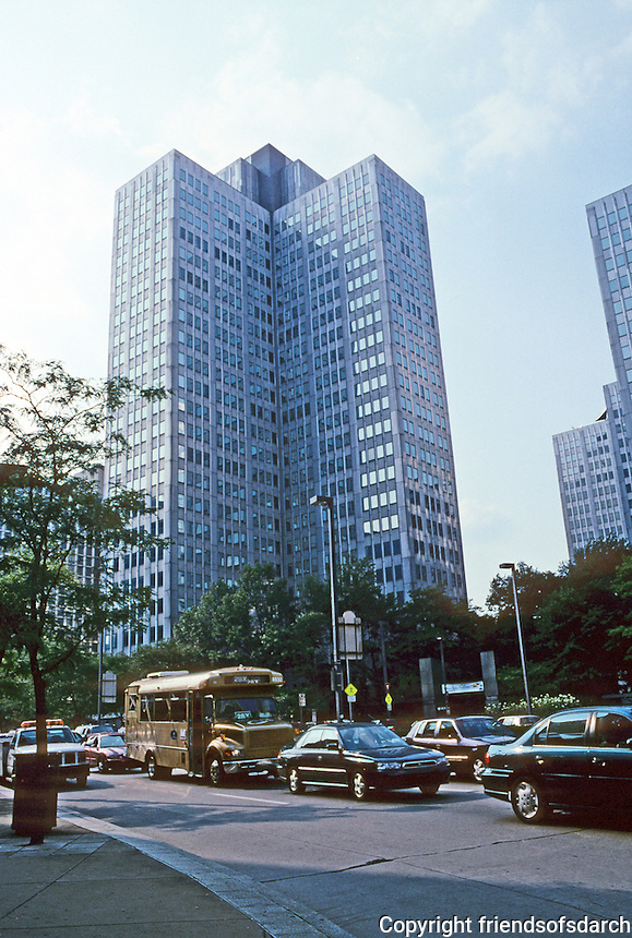 Pittsburgh: Gateway Plaza, 1950-53. Two of the three cruciform buildings. Chrome alloy steel. Photo 2001.