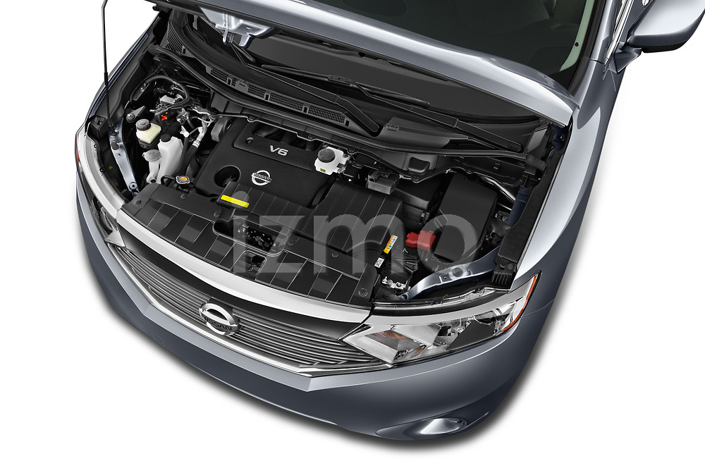 Car Stock 2017 Nissan Quest SV 5 Door Minivan Engine  high angle detail view