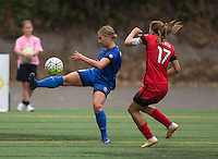 Seattle, WA - Saturday Aug. 27, 2016: Merritt Mathias, Tobin Heath during a regular season National Women's Soccer League (NWSL) match between the Seattle Reign FC and the Portland Thorns FC at Memorial Stadium.