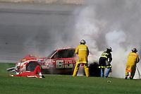 Crash during practice for the 1984 Daytona 500.