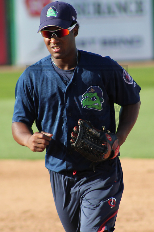 APPLETON - AUGUST 2011: Daniel Santana (1) of the Beloit Snappers, Class-A affiliate of the Minnesota Twins during a game on August 10, 2011 at Time Warner Cable Field at Fox Cities Stadium in Appleton, Wisconsin. (Photo by Brad Krause)