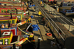 View of colourful canal boats at Gas Street Basin Birmingham England