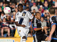 Edson Buddle of Galaxy controls the ball in the air away from Justin Morrow of Earthquakes during the game at Buck Shaw Stadium in Santa Clara, California on October 21st, 2012.  San Jose Earthquakes and Los Angeles Galaxy tied at 2-2.
