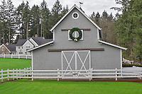 Barn and house with Christmas wreath. Near Wilsonville. Oregon