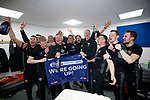 Management and coaching staff celebrate during the English League One match at Sixfields Stadium Stadium, Northampton. Picture date: April 8th 2017. Pic credit should read: Simon Bellis/Sportimage