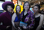 "from left, Massiel Grullon, Kelsey Arbona, both mentors with AFH, Dr. Nigella Hillgarth, President and CEO, New England Aquarium, who received the 2015 EpiCenter Award earlier in the evening, and Jasmine Miranda, an AFH artist, during ""The Greatest Party on Earth"", benefiting Artists For Humanity,Saturday April 25, 2015, at the EpiCenter in South Boston. Boston Herald Photo by Jim Michaud"