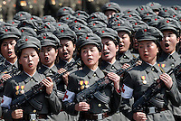 "Female North Korean soldiers march during a mass military parade in Pyongyang's Kim Il Sung Square to celebrate 100 years since the birth of North Korean founder, Kim Il Sung on Sunday, April 15, 2012. ""Inside DPRK"""