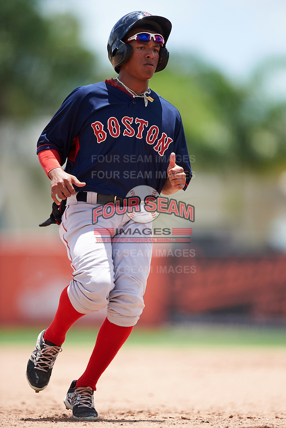 GCL Red Sox center fielder Lorenzo Cedrola (12) running the bases during a game against the GCL Orioles on August 16, 2016 at the Ed Smith Stadium in Sarasota, Florida.  GCL Red Sox defeated GCL Orioles 2-0.  (Mike Janes/Four Seam Images)