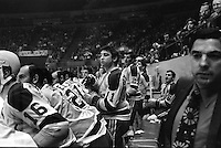 California Golden Seals bench...coach Fred Glover on far right...at the Oakland Alameda County Coliseum.<br />