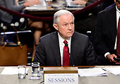 """United States Attorney General Jeff Sessions gives testimony before the US Senate Select Committee on Intelligence to  """"examine certain intelligence matters relating to the 2016 United States election"""" on Capitol Hill in Washington, DC on Tuesday, June 13, 2017.  In his prepared statement Attorney General Sessions said it was an """"appalling and detestable lie"""" to accuse him of colluding with the Russians.<br /> Credit: Melina Mara / Pool via CNP"""