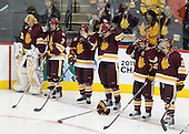 Aaron Crandall (Duluth - 31), Kyle Schmidt (Duluth - 7), Wade Bergman (Duluth - 28), Justin Faulk (Duluth - 25), Jake Hendrickson (Duluth - 15), J.T. Brown (Duluth - 23) - The University of Minnesota-Duluth Bulldogs defeated the University of Michigan Wolverines 3-2 (OT) to win the 2011 D1 National Championship on Saturday, April 9, 2011, at the Xcel Energy Center in St. Paul, Minnesota.