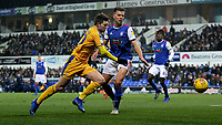 Wigan Athletic's Josh Windass battles with Ipswich Town's Jonas Knudsen<br /> <br /> Photographer Hannah Fountain/CameraSport<br /> <br /> The EFL Sky Bet Championship - Ipswich Town v Wigan Athletic - Saturday 15th December 2018 - Portman Road - Ipswich<br /> <br /> World Copyright © 2018 CameraSport. All rights reserved. 43 Linden Ave. Countesthorpe. Leicester. England. LE8 5PG - Tel: +44 (0) 116 277 4147 - admin@camerasport.com - www.camerasport.com