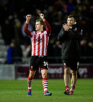 Lincoln City's Harry Toffolo celebrates at the end of the game<br /> <br /> Photographer Chris Vaughan/CameraSport<br /> <br /> The EFL Sky Bet League Two - Lincoln City v Yeovil Town - Friday 8th March 2019 - Sincil Bank - Lincoln<br /> <br /> World Copyright © 2019 CameraSport. All rights reserved. 43 Linden Ave. Countesthorpe. Leicester. England. LE8 5PG - Tel: +44 (0) 116 277 4147 - admin@camerasport.com - www.camerasport.com