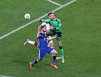 Germany goalkeeper Manuel Neuer collides with Gonzalo Higuain of Argentina