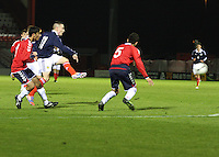 Barrie McKay shoots to score in the Scotland v Armenia UEFA European Under-19 Championship Qualifying Round match at New Douglas Park, Hamilton on 9.10.12.