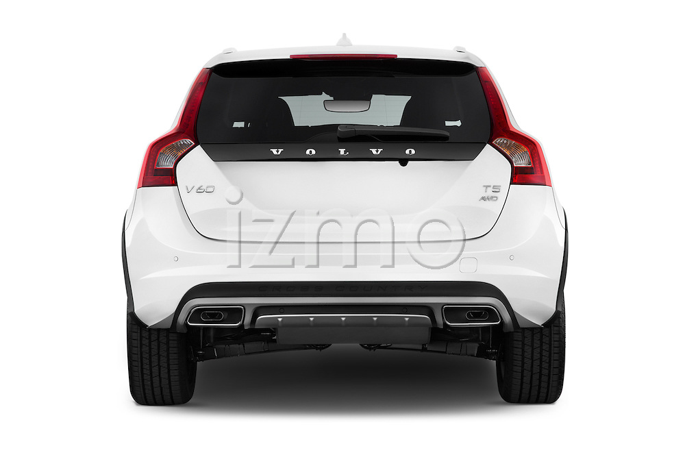 Straight rear view of 2017 Volvo V60 T5-Cross-Country 5 Door Wagon Rear View  stock images