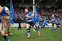 Chris Cook and the rest of the Bath Rugby team run onto the field. Anglo-Welsh Cup Final, between Bath Rugby and Exeter Chiefs on March 30, 2018 at Kingsholm Stadium in Gloucester, England. Photo by: Patrick Khachfe / Onside Images