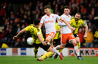 Blackpool's Chris Long vies for possession with Burton Albion's Colin Daniel<br /> <br /> Photographer Chris Vaughan/CameraSport<br /> <br /> The EFL Sky Bet League One - Burton Albion v Blackpool - Saturday 16th March 2019 - Pirelli Stadium - Burton upon Trent<br /> <br /> World Copyright &copy; 2019 CameraSport. All rights reserved. 43 Linden Ave. Countesthorpe. Leicester. England. LE8 5PG - Tel: +44 (0) 116 277 4147 - admin@camerasport.com - www.camerasport.com