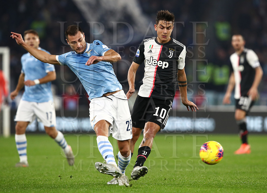 Juventus' Paulo Dybala Football, Serie A: S.S. Lazio - Juventus Olympic stadium, Rome, December 7, 2019. <br /> Juventus Paulo Dybala (r) in action with Lazio's Stefan Radu (l) during the Italian Serie A football match between S.S. Lazio and Juventus at Rome's Olympic stadium, Rome on December 7, 2019.<br /> UPDATE IMAGES PRESS/Isabella Bonotto