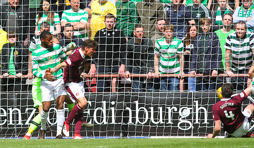 6th May 2018, Tynecastle Park, Edinburgh, Scotland; Scottish Premiership football, Heart of Midlothian versus Celtic; John Souttar knocks the ball over the line but is ruled out for a foul