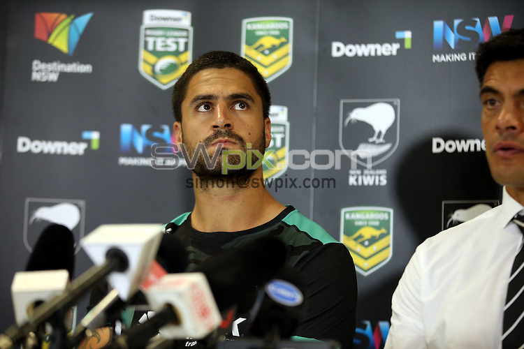 Jesse Bromwich at the press conference<br /> Trans Tasman NZRL Kiwis v Australia Test Match at Hunter Stadium, Newcastle, Australia. Friday 6 May 2016. Photo: Paul Seiser / www.photosport.nz / SWpix.com