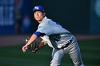 Pitcher Garrett Davila (19) of the Lexington Legends warms up prior to a game against the Greenville Drive on Wednesday, April 12, 2017, at Fluor Field at the West End in Greenville, South Carolina. Greenville won, 4-1. (Tom Priddy/Four Seam Images)
