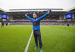 New Rangers signing Joe Garner takes the applause at half-time