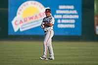 Lake Elsinore Storm infielder Eguy Rosario (1) warms up before a California League game against the Modesto Nuts at John Thurman Field on May 11, 2018 in Modesto, California. Modesto defeated Lake Elsinore 3-1. (Zachary Lucy/Four Seam Images)
