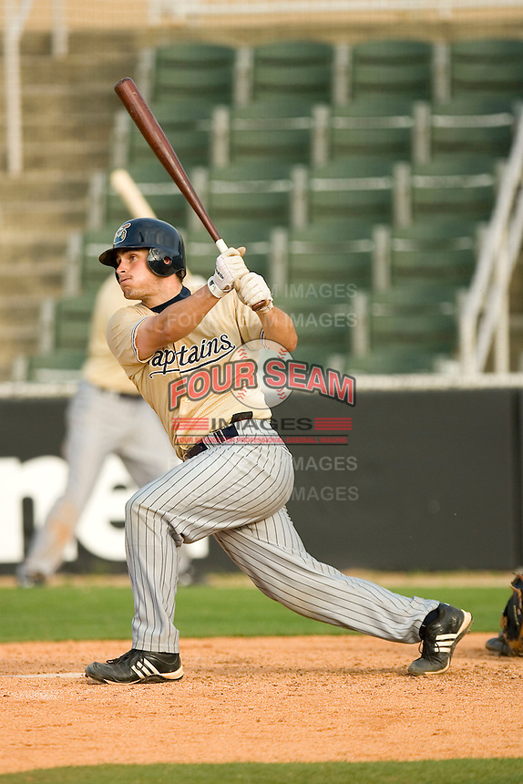Adam Abraham #20 of the Lake County Captains follows through on his swing versus the Kannapolis Intimidators at Fieldcrest Cannon Stadium May 3, 2009 in Kannapolis, North Carolina. (Photo by Brian Westerholt / Four Seam Images)
