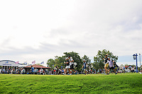 Charley Hull (ENG), Cristie Kerr (USA), and Ai Miyazato (JPN)  depart the first tee during Thursday's round 1 of the 2017 KPMG Women's PGA Championship, at Olympia Fields Country Club, Olympia Fields, Illinois. 6/29/2017.<br /> Picture: Golffile | Ken Murray<br /> <br /> <br /> All photo usage must carry mandatory copyright credit (&copy; Golffile | Ken Murray)