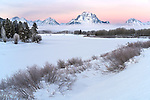 Grand Teton National Park, Wyoming:<br /> Winter dawn on the Teton Range and Mount Moran from the Oxbow of the Snake River